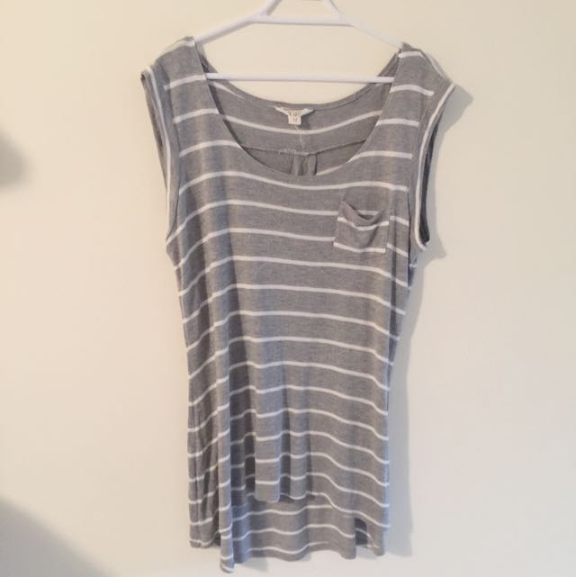 Striped Grey N White Top Size M