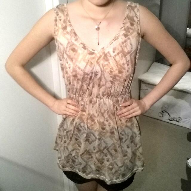 *FREE SUPRE Tribal Brown orange Blouse/dress
