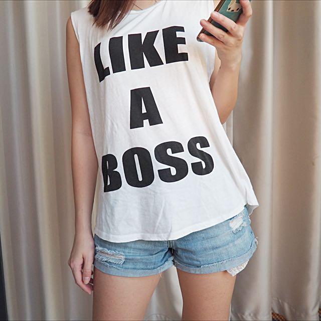 Supre White Tee Like A Boss