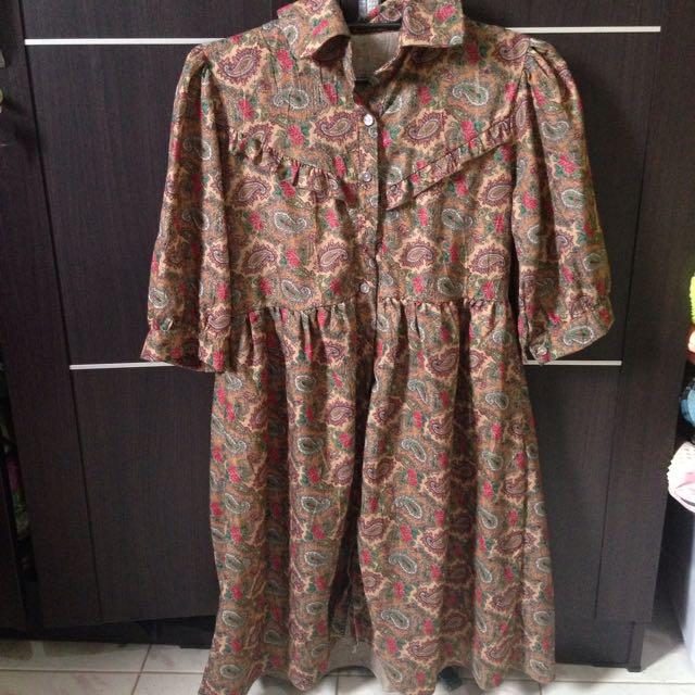 Vintage Brown Pattern Dress
