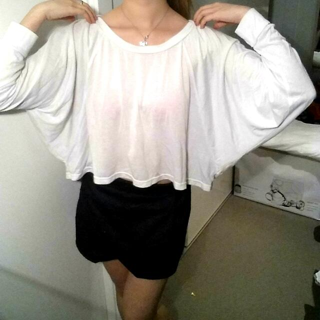 SUPRE White Batwing Long Sleeve Crop Top
