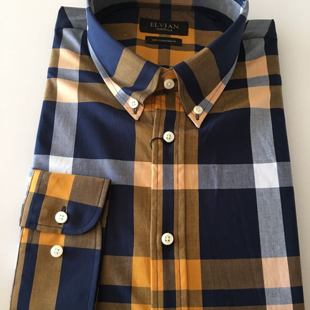 Yellow/blue Oxford Button Down Casual Shirt