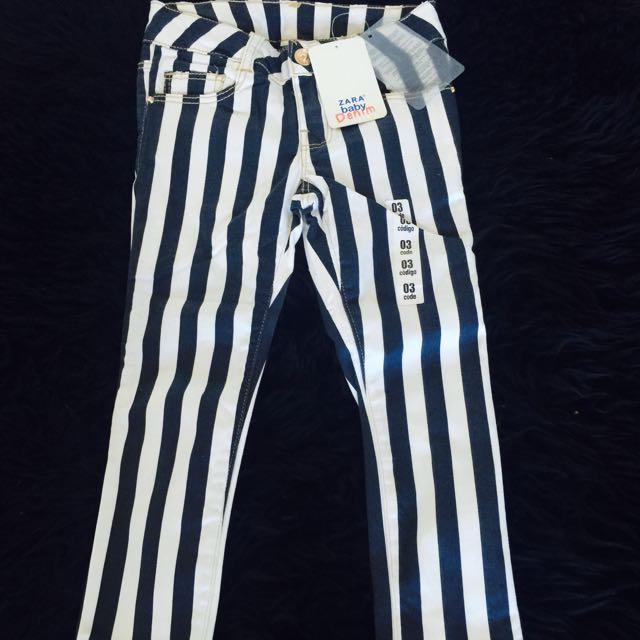 Zara Girls Striped Jeans