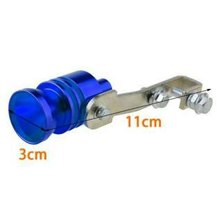 Universal Turbo Sound Whistle Muffler Exhaust Pipe Valve BOV Simulator Blue