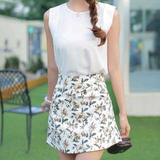 White Floral A-line Skirt