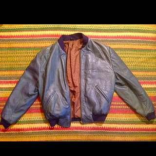Vintage Navy Leather Bomber Jacket