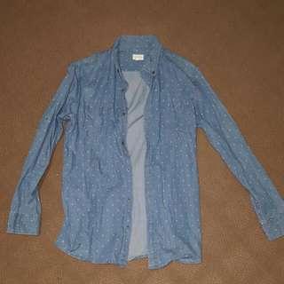 Maddox Size Medium Light Blue Patterned Button Down Shirt