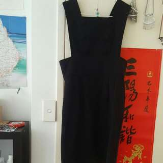 Ladakh Black Pinafore Dress