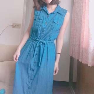 氣質長洋裝 (藍)