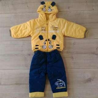 超保暖舖棉冬裝老虎造型男童套裝