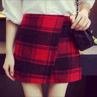 Red Tartan Overlay Skirt