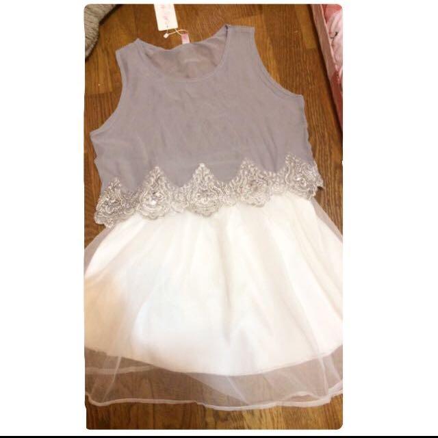 繡珠氣質兩件式紗裙