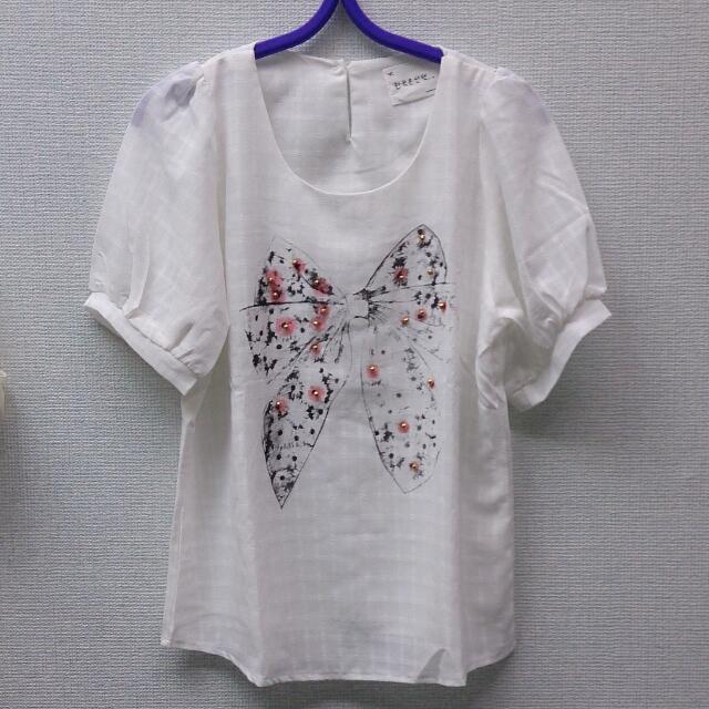 韓版白色蝴蝶結綴珠裝飾篷篷袖上衣