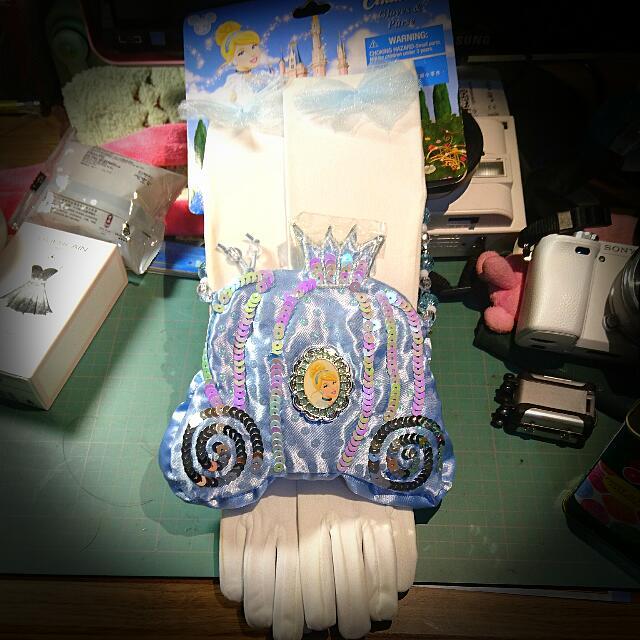 全新迪士尼公主手套手提包組 灰姑娘仙度瑞拉