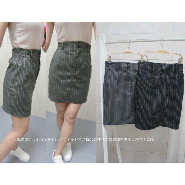 韓 條紋 口袋 窄裙 短裙
