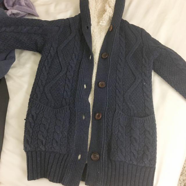 正韓 全鋪毛 針織外套 長版外套 長袖外套  深藍色