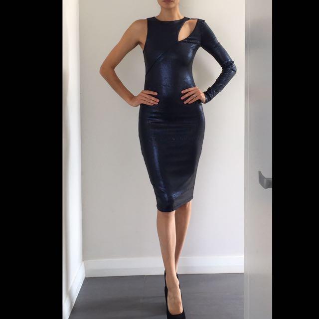 Asos Sequin Midnight Bodycon Blue Dress Size 6-8