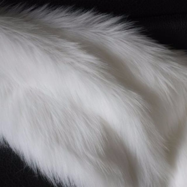 HIGH GRADE, LUXURY, LONG PILE WHITE FAUX FUR FABRIC, IN WHITE