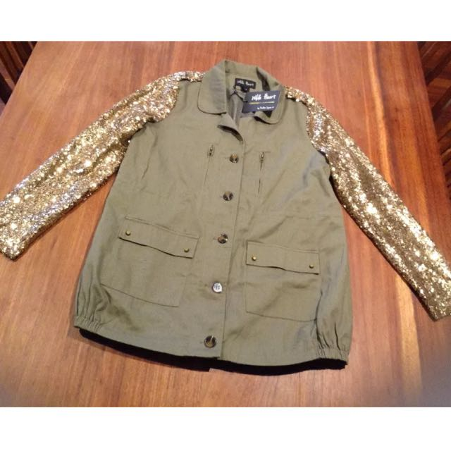 Khaki & Gold Sequin Coat