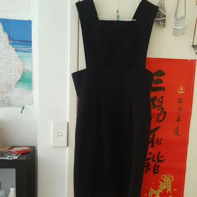Ladakh Black Pinafore Dress