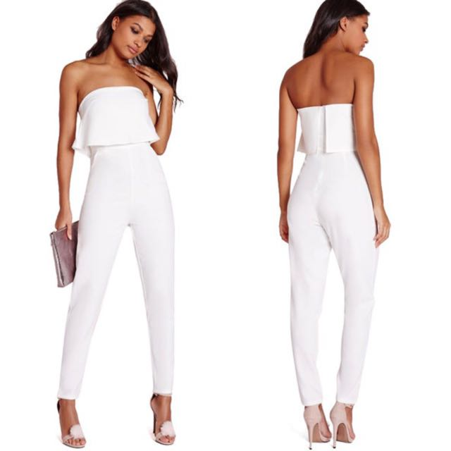 e42a670ee343 Minimalist Plain White Ruffles Tier Tube Long Pants Sleek Look ...