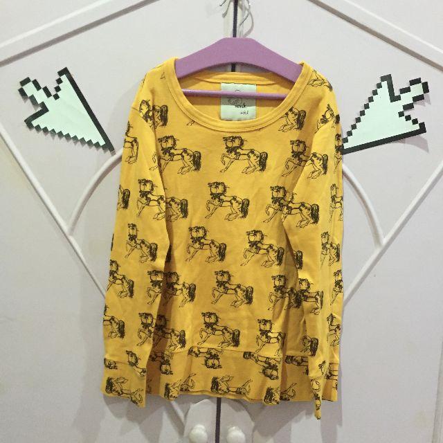 Monik Pony Carousel Detail Cute Yellow Long Sleeve Shirt