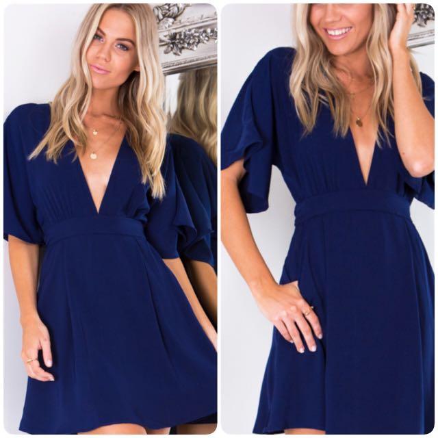 Navy V Neck Open Back Dress Size 8