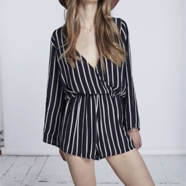 Playsuit (striped, open back)
