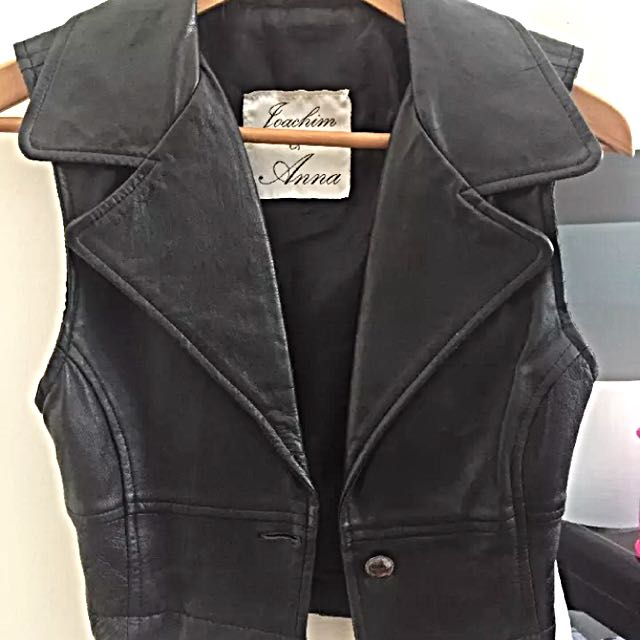 Vintage Cropped Leather Biker Vest Size Xs