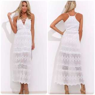 White Maxi Lace Dress 6