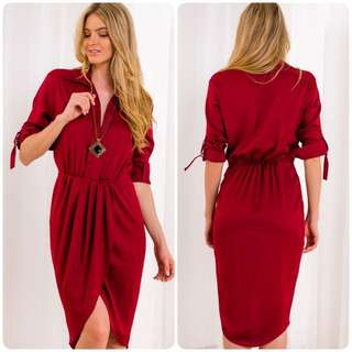 Gorgeous Maroon Midis Length Long Sleeves Dress 6