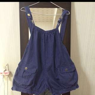 藍色吊帶褲