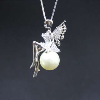 Trendy Fairy On The Pearl Pendant With Chain