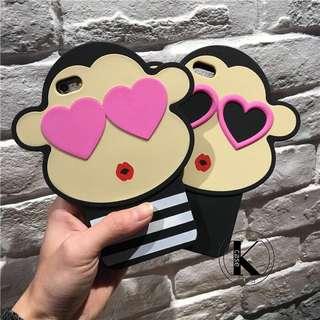 韓國網紅同款 愛心猴 情侶條紋猴子矽膠套 軟殼保護套 🙈🍌🐵🍌🙉🍌🙊🍌