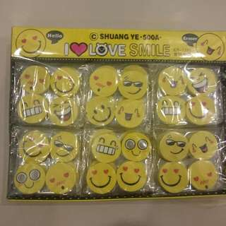 Assorted Smiley Erasers - For Kids Birthday Party Favors And Goodie Bags