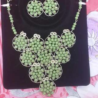 Handcrafted beaded necklace, earrings & ring