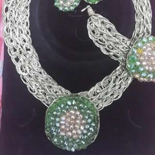 Handcrafted beaded necklace, earrings & bracelet