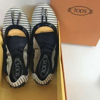TODS 全新 馬毛 條紋 豆豆鞋#tods
