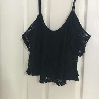 Black Off The Shoulder Lace Midriff