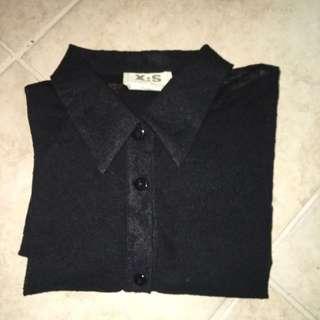 Black Lace Button Down