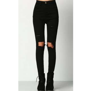 black skinny ripped jeans