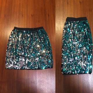 Blue And Silver Sequin Mini Skirt