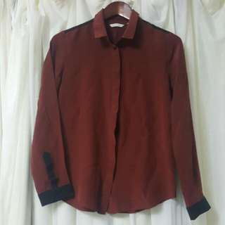 Country Road Silk Shirt in Maroon and Black