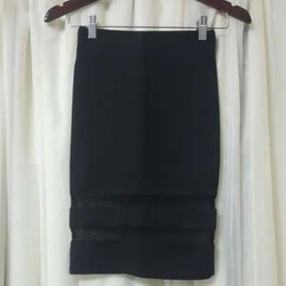 H&M Skirt In Black With Mesh