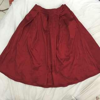 Red Midi Skater Skirt