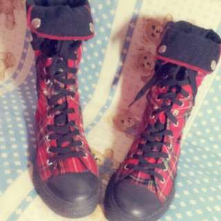 Harajuku Red Checkered High Sneakers/ Boots