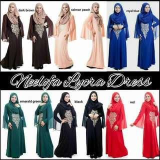 RESTOCK ARRIVING NEXT WEEK!! NEELOFA LYCRA LONG DRESS. SIZE SCROLL PIC 2. LIMITED PIECES AVAILABILITY.  $55.00 PM TO ORDER.