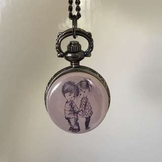 Cute Boy+Girl Clock Locket Necklace