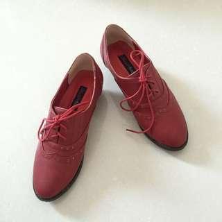 全新❙Anns 紅牛津鞋 38