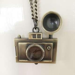 Brassy Gold Camera Clock Necklace ASOS